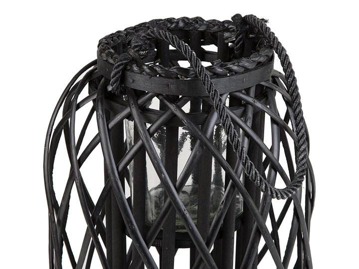 Lampion dekoracyjny czarny drewniany 40 cm ozdoba latarenka na świeczkę MAURITIUS Szkło Drewno Kategoria Świeczniki i świece