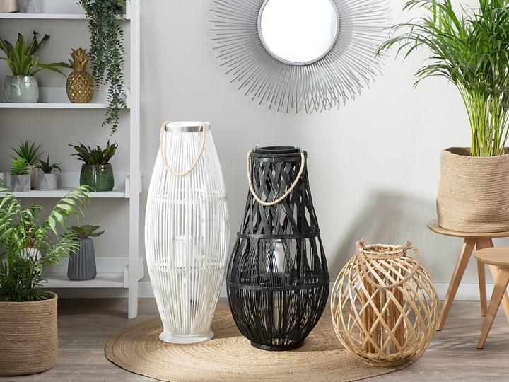 Lampion dekoracyjny jasne drewno 41 cm ozdobna latarnia na świecę Szkło Kategoria Świeczniki i świece