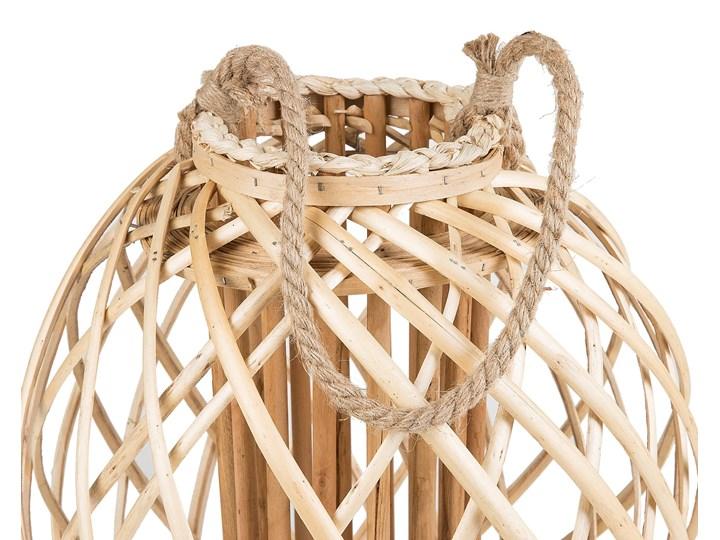 Lampion dekoracyjny jasne drewno 41 cm ozdobna latarnia na świecę Szkło Kategoria Świeczniki i świece Kolor Beżowy