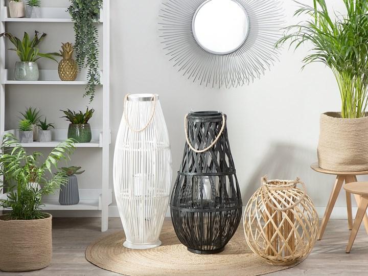 Lampion dekoracyjny białe drewno bambusowe 72 cm ozdoba latarnia na świecę Szkło Kolor Biały