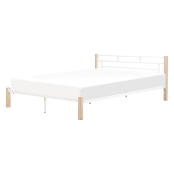 Łóżko ze stelażem białe metalowa rama jasne drewniane nóżki ozdobne wezgłowie 180 x 200 cm minimalistyczny design