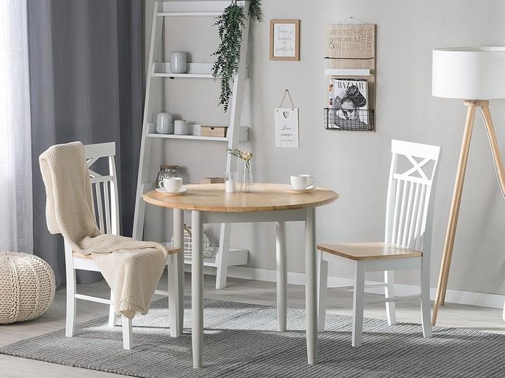 Stół do jadalni szary jasne drewno 60/92 x 92 cm rozkładany okrągły 4 miejsca skandynawski Szerokość 60 cm Rozkładanie
