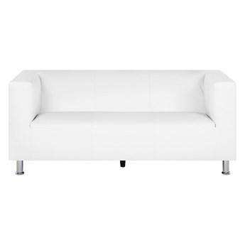 Sofa 3-osobowa biała ekoskóra metalowe nóżki minimalistyczny design