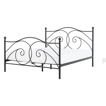 Łóżko ze stelażem czarne metalowa ozdobiona rama 160 x 200 cm nowoczesny minimalistyczny styl
