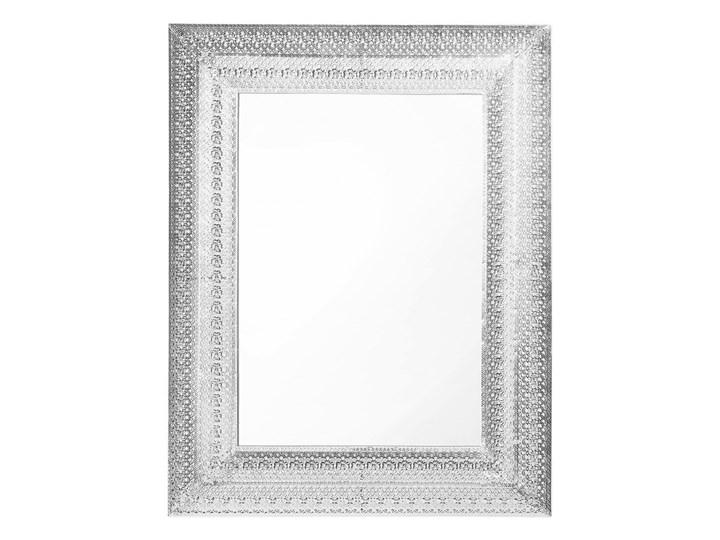 Lustro ścienne wiszące srebrne 70 x 90 cm prostokątne vintage retro sypialnia salon łazienka Lustro z ramą Kategoria Lustra Kolor Srebrny