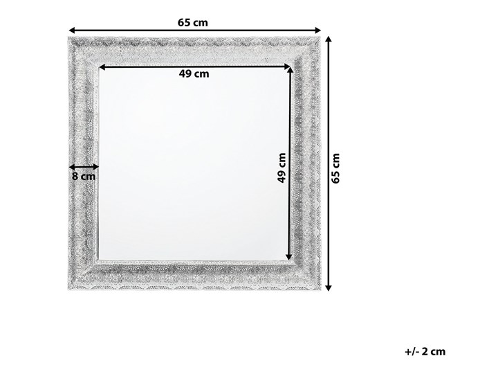 Lustro ścienne wiszące srebrne 65 x 65 cm kwadratowe vintage retro sypialnia salon łazienka Kolor Srebrny