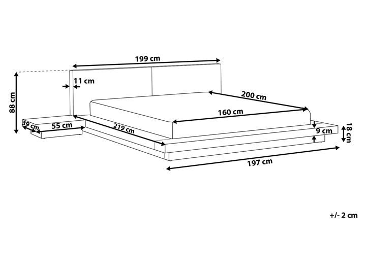 Łóżko jasne drewno 160 x 200 cm 2 stoliki nocne wysoki zagłówek styl japoński Łóżko drewniane Kategoria Łóżka do sypialni Łóżko skórzane Kolor Brązowy