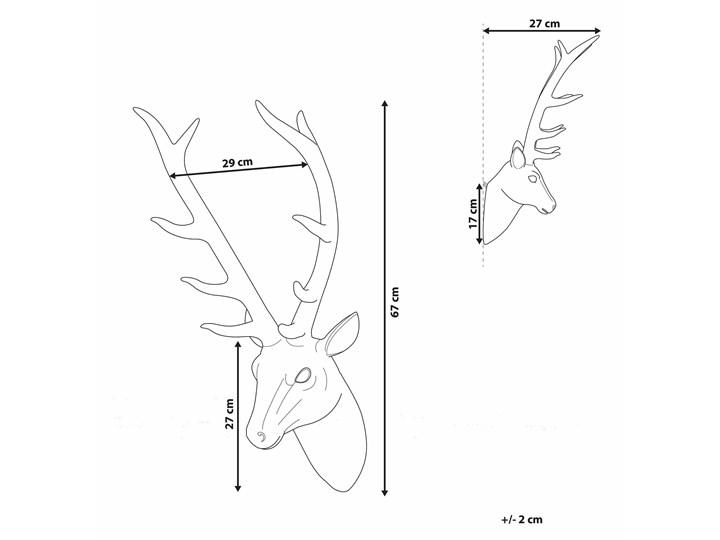 Dekoracja na ścianę złota wisząca głowa jelenia poroże 67 cm Tworzywo sztuczne Zwierzęta Kolor Złoty