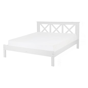 Łóżko drewniane białe rama stelaż 160 x 200 cm