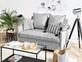 Sofa rozkładana jasnoszara dwuosobowa tapicerowana kanapa nowoczesna do salonu pokoju z funkcją spania metalowe czarne nogi Boki Z bokami