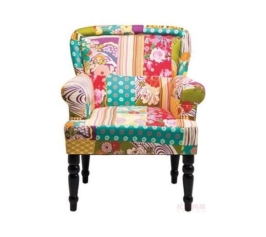 Kare design ibiza kolorowy fotel pokryty tkanin for Design patchwork stuhl ibiza
