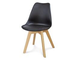Krzesło z skórzaną czarną poduszką na drewnianych bukowych nogach nowoczesne czarne 007 WF