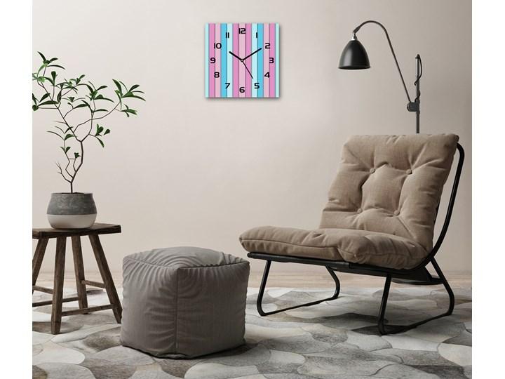 Zegar szklany na ścianę Kolorowe paski Kwadratowy Zegar ścienny Szkło Kolor Wielokolorowy