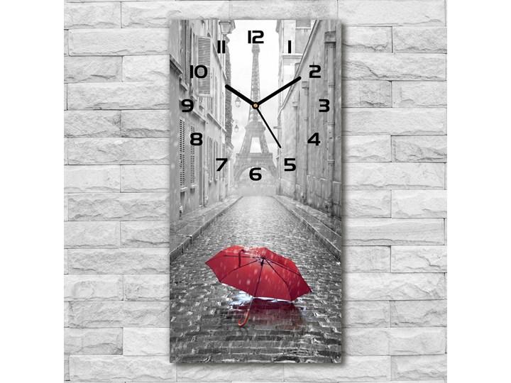 Zegar ścienny cichy Parasol Francja Kategoria Zegary Prostokątny Szkło Zegar stołowy Budzik Kolor Szary