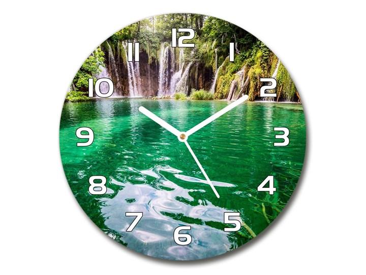 Zegar szklany okrągły Jezioro Plitwickie Zegar ścienny Szkło Kolor Zielony