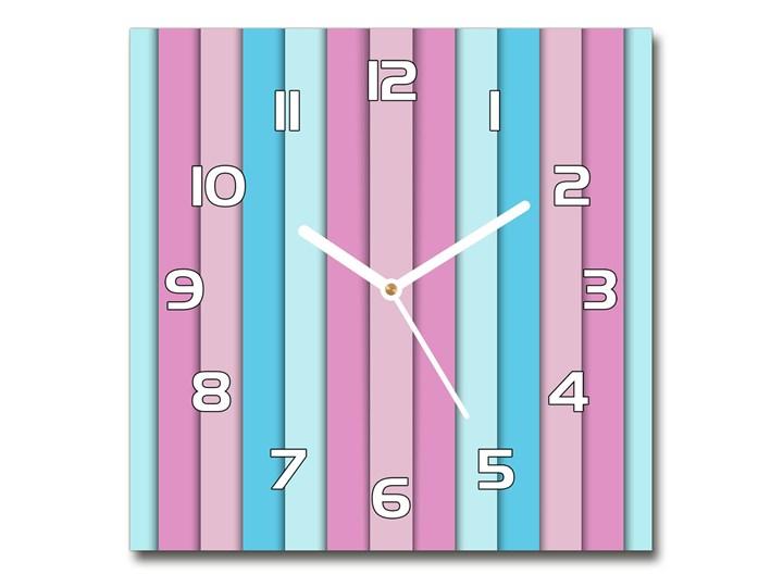 Zegar szklany na ścianę Kolorowe paski Zegar ścienny Kolor Wielokolorowy Kwadratowy Szkło Kolor Różowy