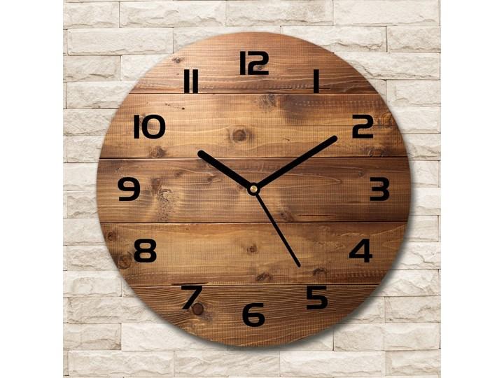 Zegar szklany okrągły Drewniane tło Drewno Zegar ścienny Styl Nowoczesny Szkło Pomieszczenie Sypialnia