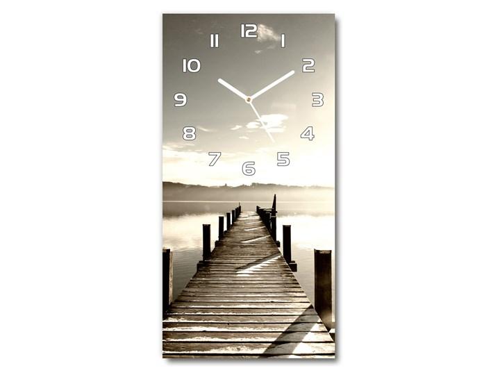 Zegar szklany ścienny Drewniane molo Drewno Szkło Prostokątny Zegar stołowy Budzik Zegar ścienny Kolor Szary