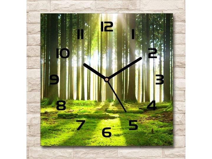 Zegar szklany kwadratowy Las w słońcu Szkło Zegar ścienny Styl Nowoczesny