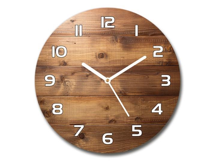 Zegar szklany okrągły Drewniane tło Zegar ścienny Drewno Szkło Kolor Brązowy