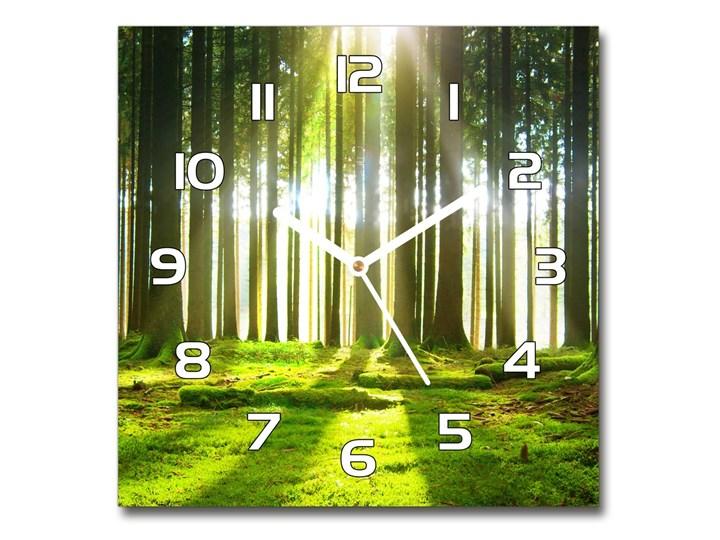 Zegar szklany kwadratowy Las w słońcu Zegar ścienny Kategoria Zegary Szkło Kolor Zielony