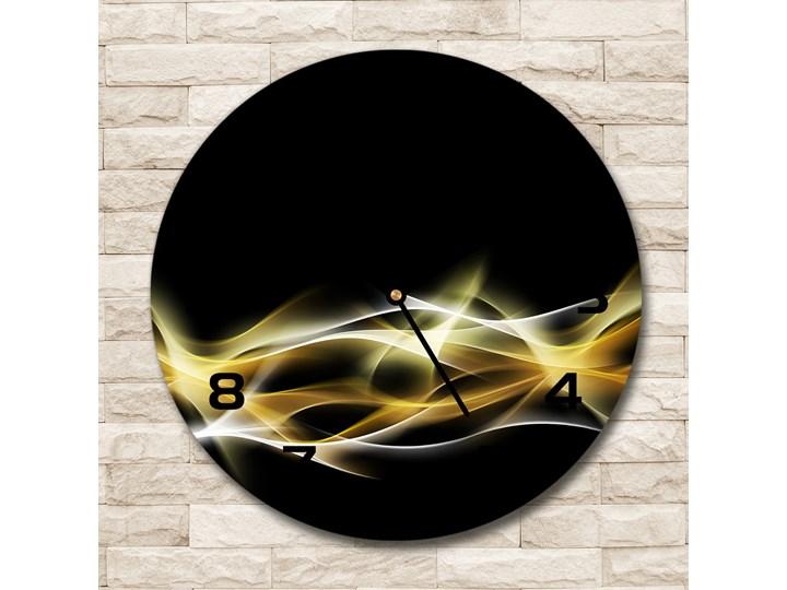 Zegar szklany na ścianę Abstrakcja światła Tworzywo sztuczne Szkło Zegar ścienny Styl Nowoczesny Okrągły Kolor Czarny