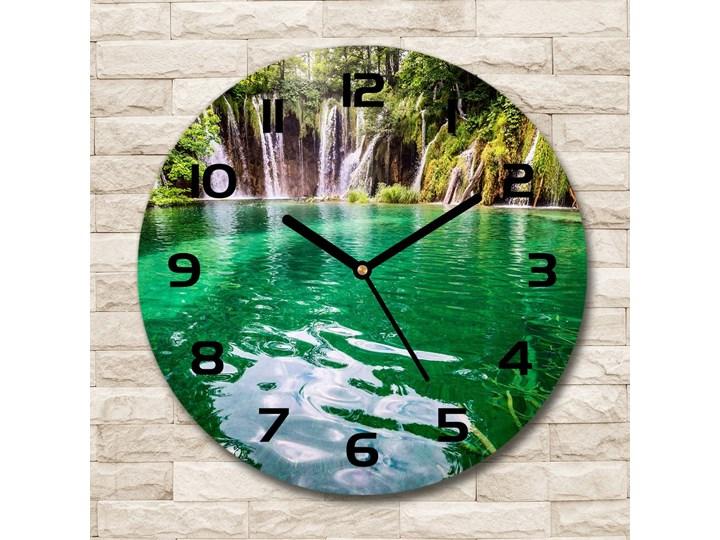 Zegar szklany okrągły Jezioro Plitwickie Zegar ścienny Szkło Kategoria Zegary
