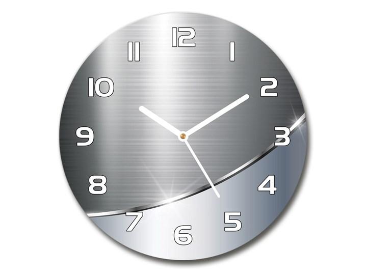Zegar szklany okrągły Metalowa abstrakcja Zegar ścienny Tworzywo sztuczne Szkło Kolor Szary