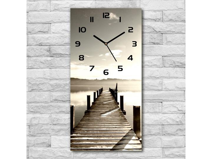 Zegar szklany ścienny Drewniane molo Zegar ścienny Szkło Drewno Prostokątny Budzik Zegar stołowy Styl Nowoczesny