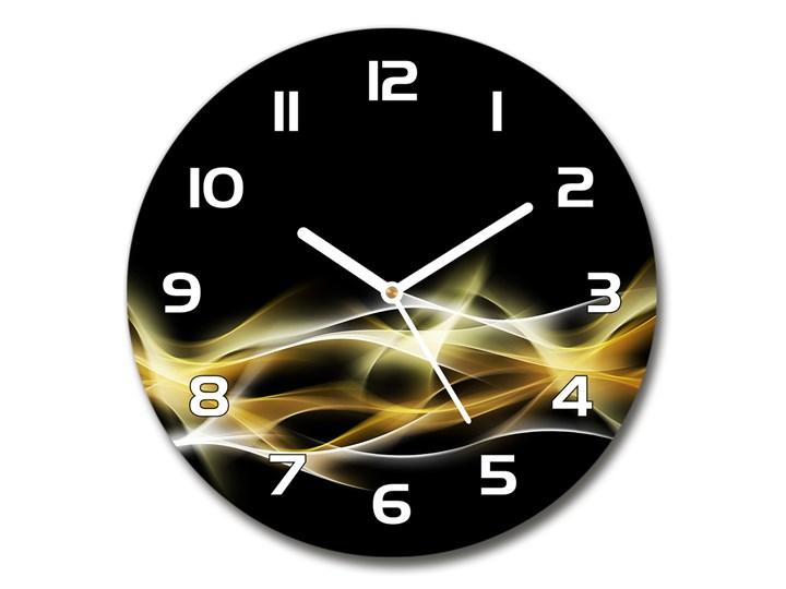 Zegar szklany na ścianę Abstrakcja światła Okrągły Szkło Tworzywo sztuczne Zegar ścienny Styl Nowoczesny Kolor Czarny