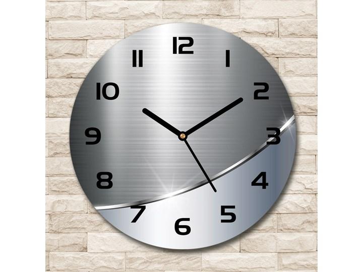 Zegar szklany okrągły Metalowa abstrakcja Szkło Tworzywo sztuczne Zegar ścienny Kolor Szary