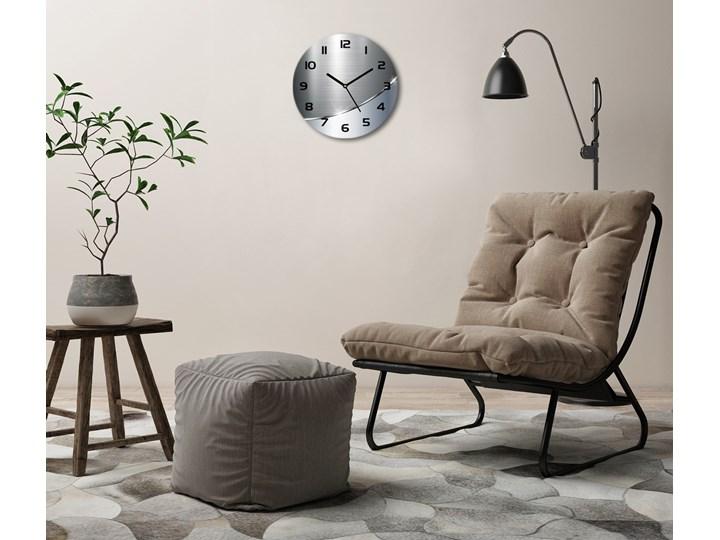 Zegar szklany okrągły Metalowa abstrakcja Zegar ścienny Szkło Tworzywo sztuczne Kolor Szary