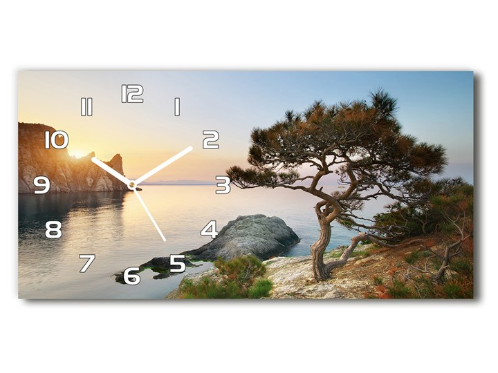 Zegar ścienny szklany Drzewo nad morzem Prostokątny Szkło Pomieszczenie Sypialnia Pomieszczenie Salon
