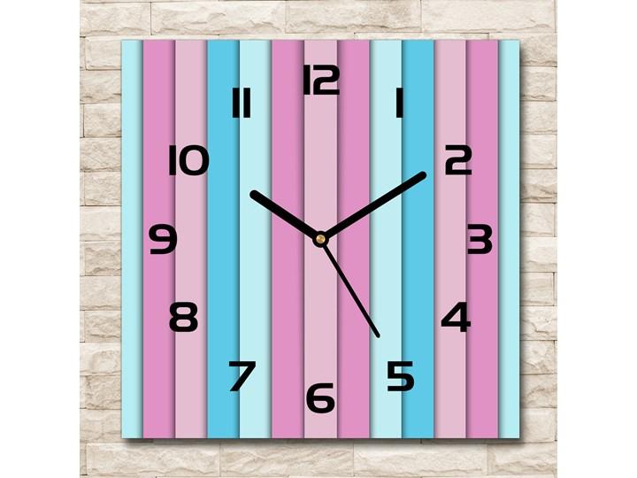 Zegar szklany na ścianę Kolorowe paski Zegar ścienny Kwadratowy Szkło Styl Nowoczesny