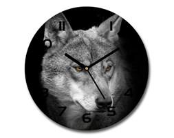 Zegar ścienny szklany okrągły Wilk