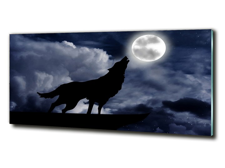 Foto-obraz szklany Wyjący wilk pełnia