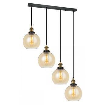 CARDENA lampa typu belka 4 x 40W E27 wisząca żyrandol zwis kula czarny złoto dekoracyjny ITALUX MDM-4330/4 GD+AMB