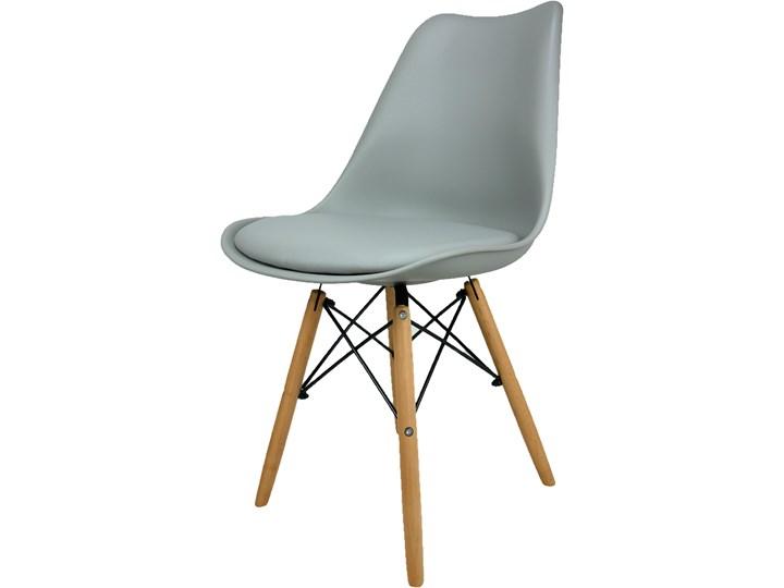 Krzesło Kris Paris Nowoczesne z poduszką ciemnoszare Tworzywo sztuczne Krzesło inspirowane Metal Głębokość 42 cm Drewno Skóra ekologiczna Szerokość 42 cm Pomieszczenie Salon