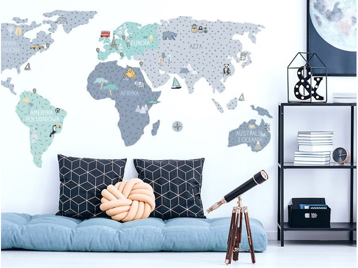 naklejka | mapa świata - niebieska Pastelowe Love