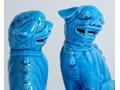 Turkusowa para psów Foo, lata 80. Ceramika Ceramika