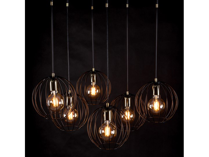 ALBIO 6 BLACK 144/6 wisząca lampa sufitowa LOFT druciaki regulowana metalowa złoto czarna Lampa z kloszem Funkcje Brak dodatkowych funkcji Pomieszczenie Sypialnia