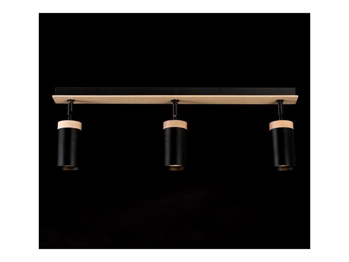 ELBA 3 BLACK 166/3 spot halogen sufitowy regulowany czarny drewno styl skandynawski Metal Kolor Beżowy
