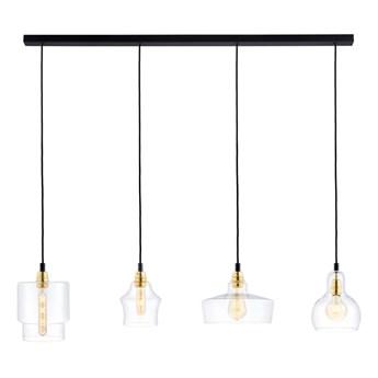 LONGIS LISTWA 4 GOLD lampa wisząca 4 x 60W E27 (czarny / złoty / transparent) transparentny klosz design złota czarna  KASPA 10876405