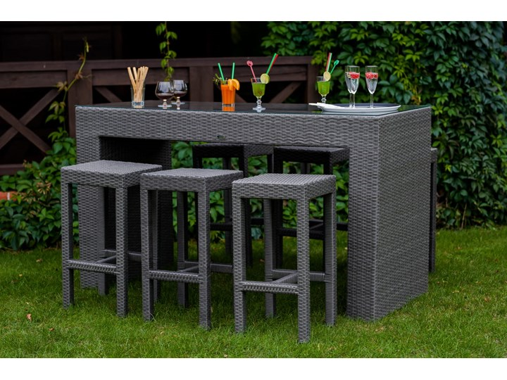Meble barowe do ogrodu GENIALE szary technorattan stół (aluminium) 6 hokerów Zawartość zestawu Z krzesłem