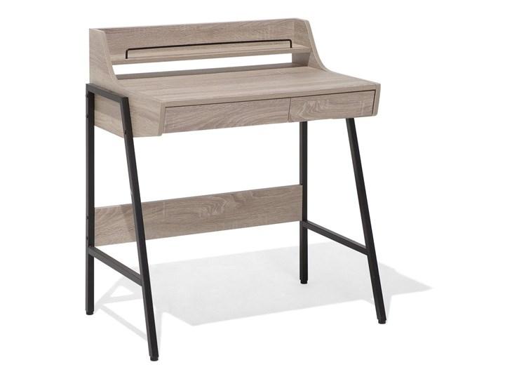 Małe biurko jasnobrązowe 73 x 48 cm z nadstawką i szufladami na stalowej ramie Biurko z nadstawką Kolor Brązowy Drewno Szerokość 72 cm Płyta MDF Biurko komputerowe Styl Nowoczesny