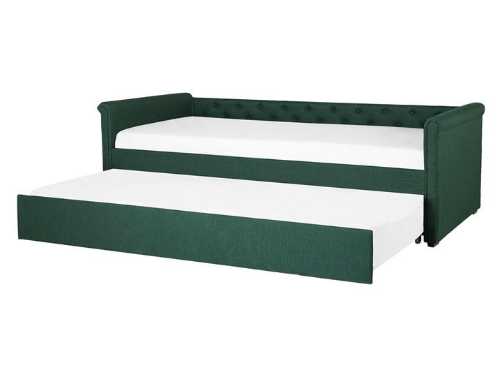 Łóżko dziecięce wysuwane ze stelażem ciemnozielone tapicerowane tkaniną pikowane oparcie 90 x 200 cm Tworzywo sztuczne Drewno Kolor Zielony