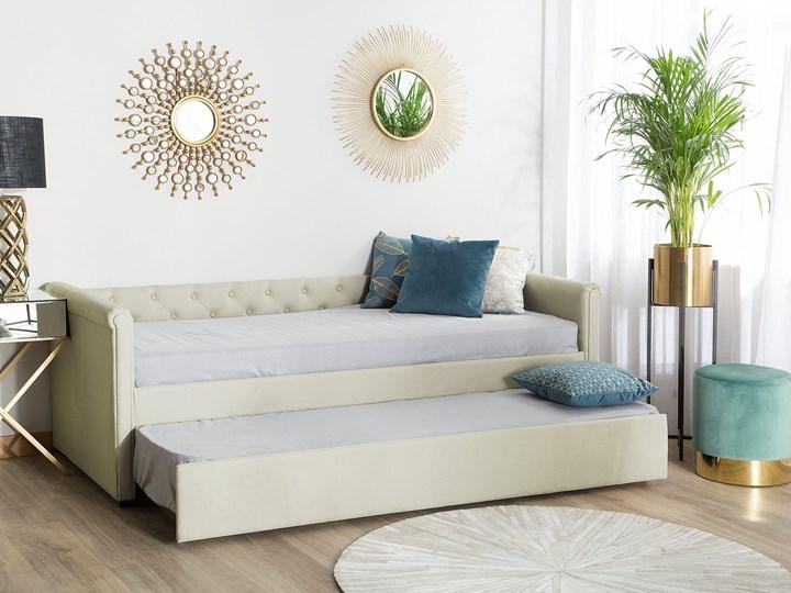 Łóżko dziecięce wysuwane ze stelażem beżowe tapicerowane tkaniną pikowane oparcie 90 x 200 cm Drewno Tworzywo sztuczne Rozmiar materaca 90x200 cm Kolor Beżowy