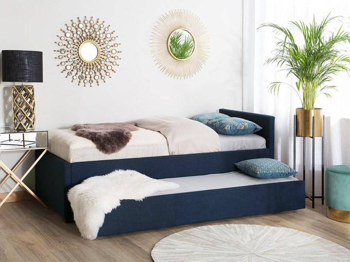 Łóżko dziecięce wysuwane ze stelażem ciemnoniebieskie tapicerowane tkaniną 90 x 200 cm Tworzywo sztuczne Drewno Rozmiar materaca 90x200 cm