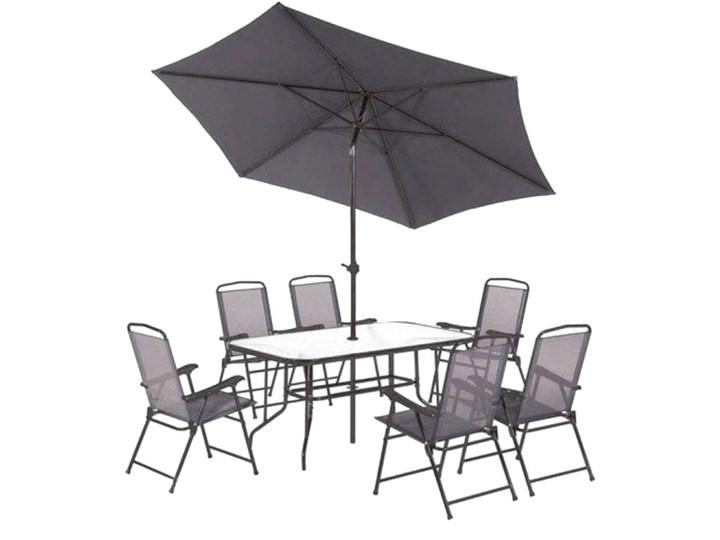 SELSEY Zestaw ogrodowy Rapasolla stół z sześcioma krzesłami i parasolem szary Stoły z krzesłami Tworzywo sztuczne Kategoria Zestawy mebli ogrodowych