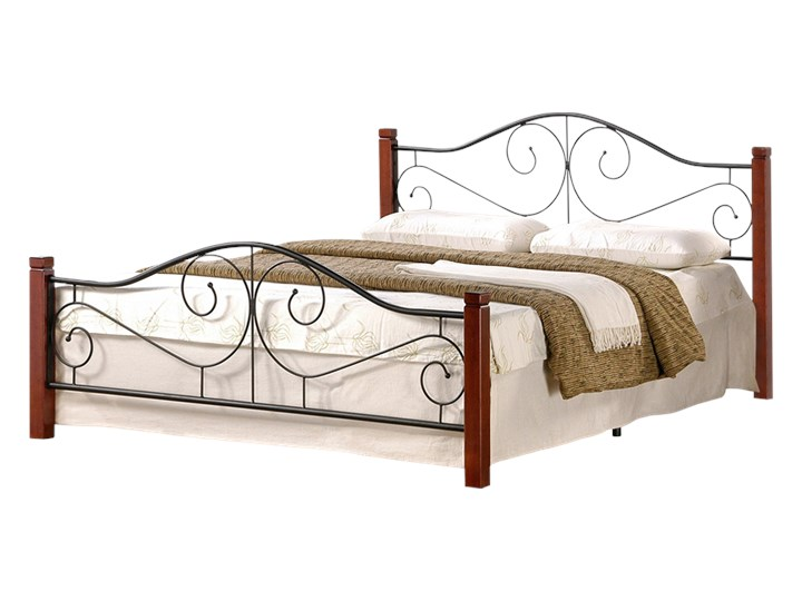 SELSEY Łóżko metalowe Santander 140x200 cm Drewno Kategoria Łóżka do sypialni